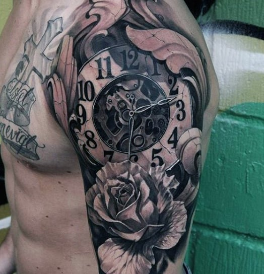 Flower Men's Mechanical Clock Tattoo