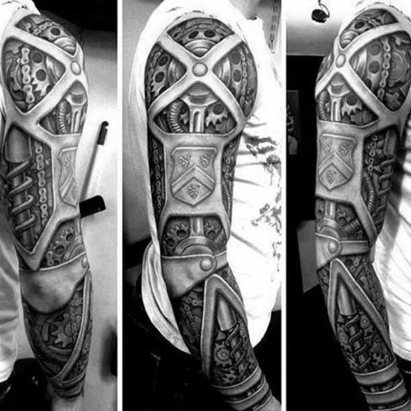 Mens Mechanical Gear Full Arm Sleeve 3d Tattoo Design Inspiration