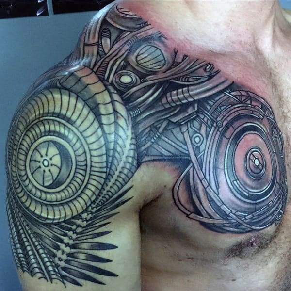 Men's Mechanical Warrior Shoulder And Chest Tattoo