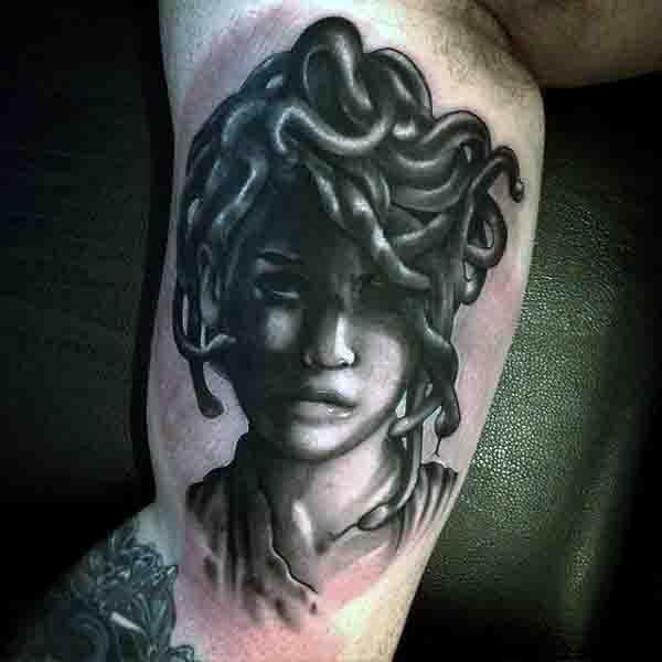 Mens Medusa Head Tattoo On Bicep