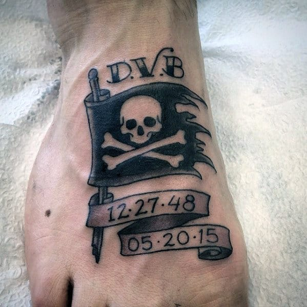 Mens Memorial Banner Pirate Flag Foot Tattoo
