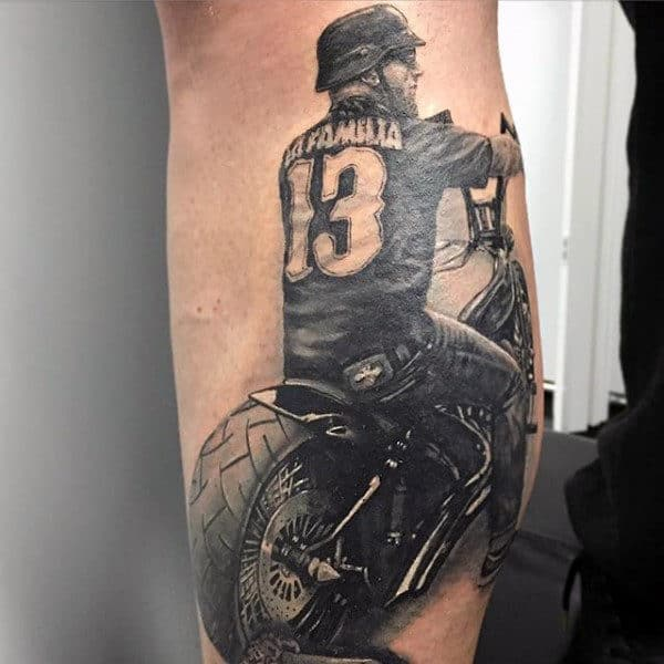 Mens Memorial Biker Leg Calf Tattoo Ideas