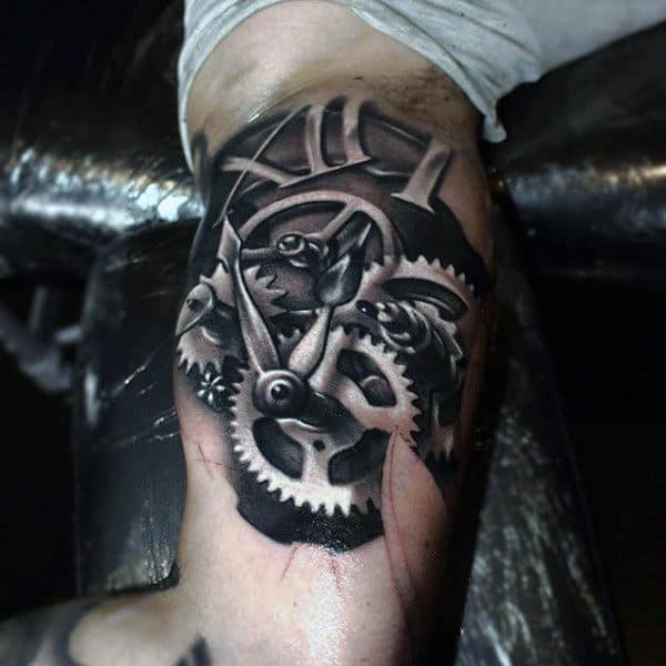Mens Metallic Gear Inner Biceps Tattoo