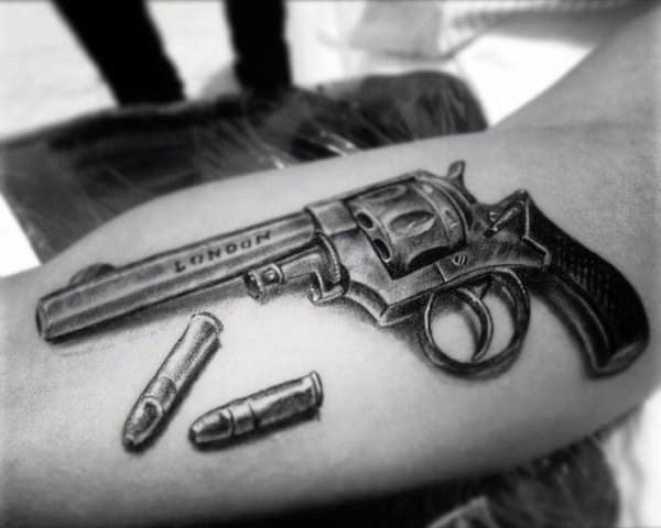 Mens Metallic Piston With Bullets Tattoo On Forearms
