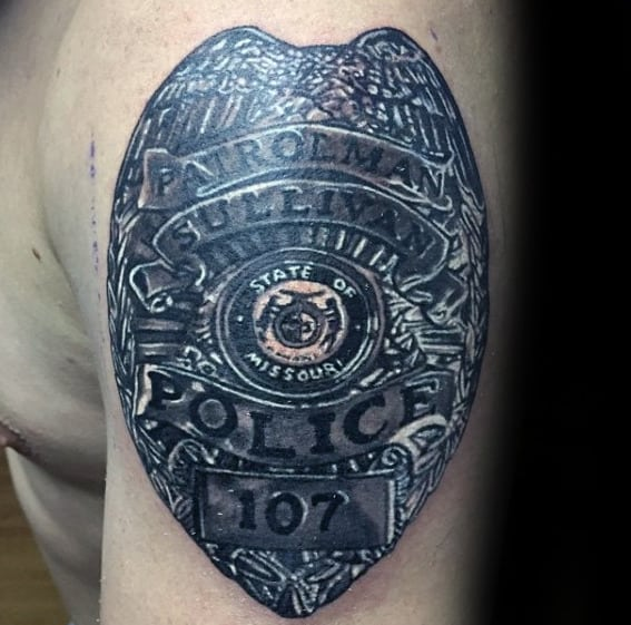 Mens Metallic Realistic Police Tattoo Design On Upper Arm