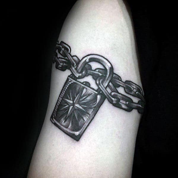 Mens Metallic Shaded Lock With Nautical Star And Chain Tattoo On Arm
