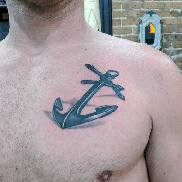 Mens Metallic Unique Anchor Upper Chest Tattoos