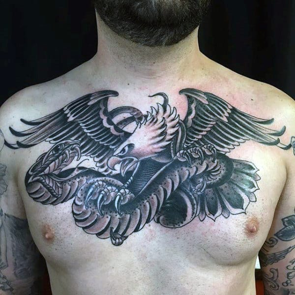 Mens Mexican Eagle With Snake Old School Chest Tattoo