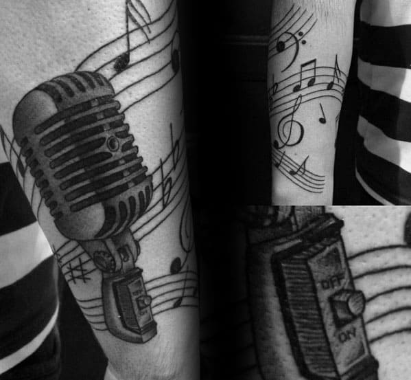 Mens Microphone Music Staff Tattoo Ideas On Outer Forearm