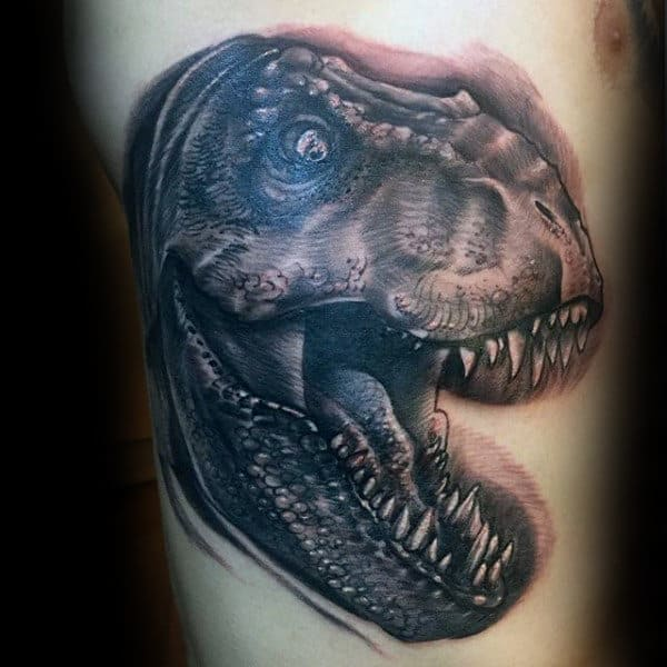 Mens Mighty Dinosaur Skull Tattoo On Arms