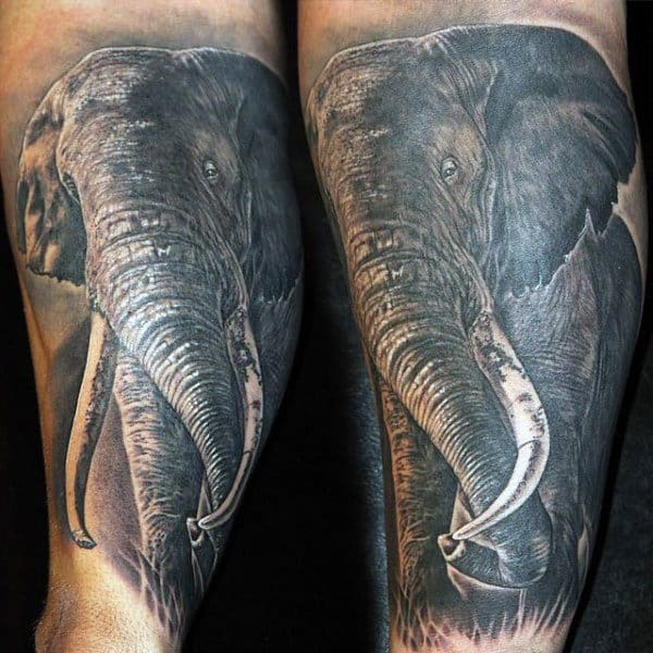 Mens Mighty Elephant Tattoo On Ankles