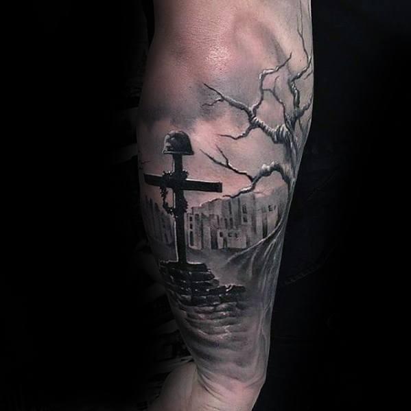 Mens Military Fallen Soliders Cross Unique Forearm Tattoo