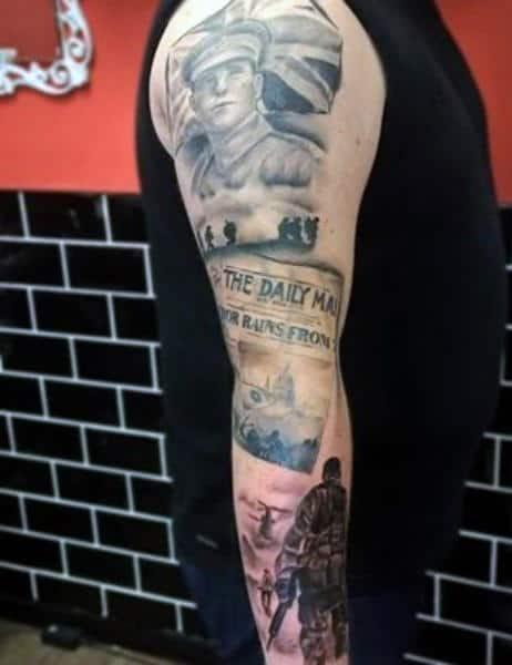 Men's Military Flag Tattoos Sleeve