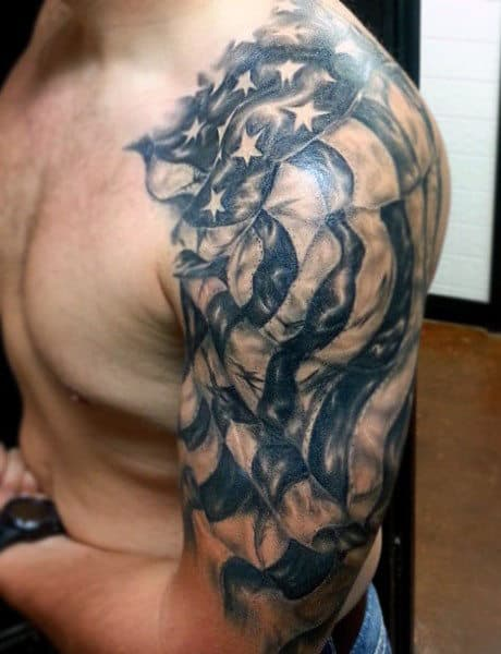 Men's Military Tattoo On Upper Arm