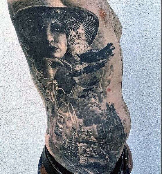 Mens Military Themed Different Full Rib Cage Side Realistic Tattoo