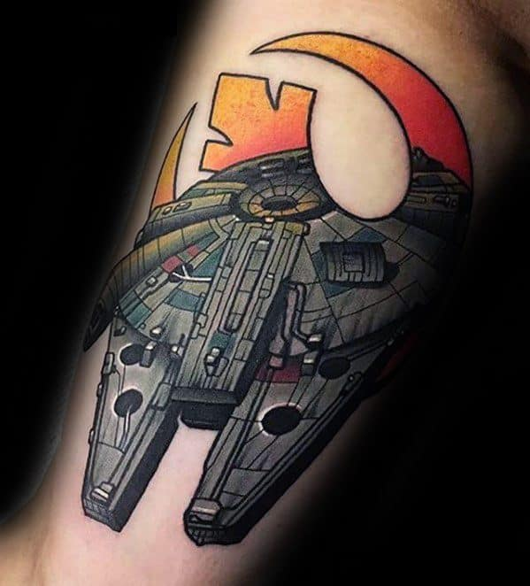 Mens Millennium Falcon Tattoo Design Ideas