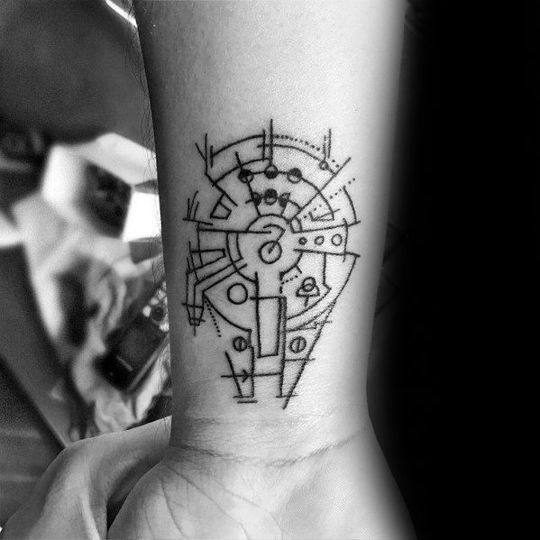 Mens Millennium Falcon Tattoo Design Inspiration