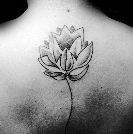 Mens Minimalist Lotus Flower Shaded Back Tattoo