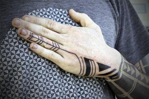 Mens Minimalist Tribal Hand Tattoos