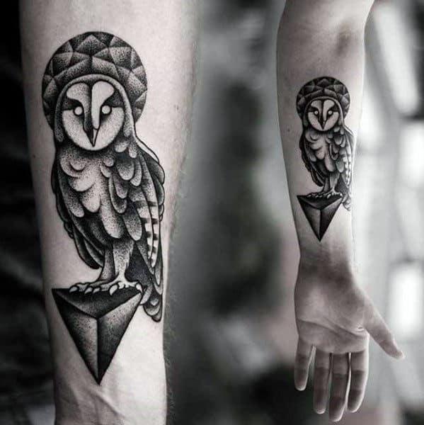 Mens Modern 3d Geometric Owl Inner Forearm Tattoo