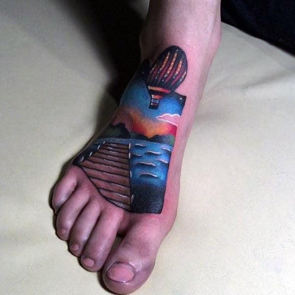Mens Modern 3d Hot Air Balloon Foot Tattoos