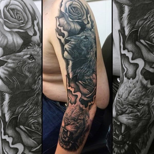 60 lion sleeve tattoo designs for men masculine ideas. Black Bedroom Furniture Sets. Home Design Ideas