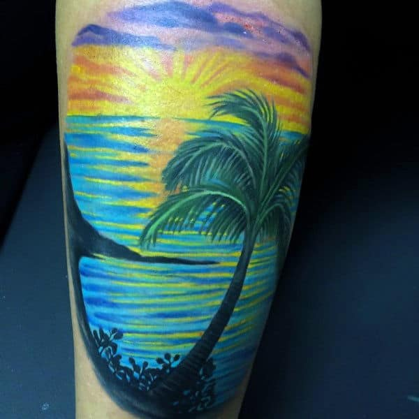Mens Modern Palm Beach At Sunet Tattoo On Forearm