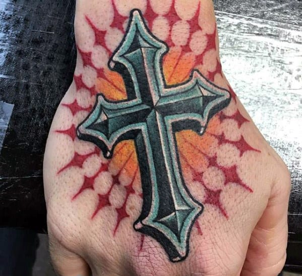 Mens Modern Sun Rays 3d Cross Badass Tattoo Design On Hand