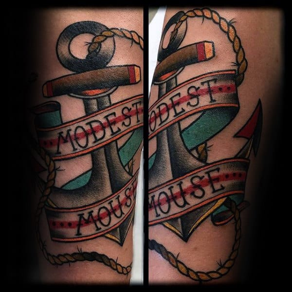 Mens Modest Mouse Traditional Anchor Arm Tattoos