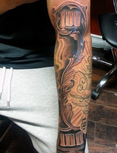Men's Money Roses Tattoo