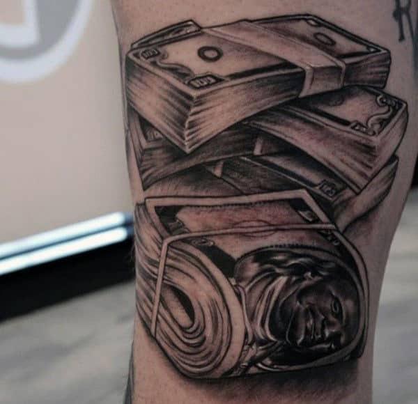 Men's Money Stacks Tattoo