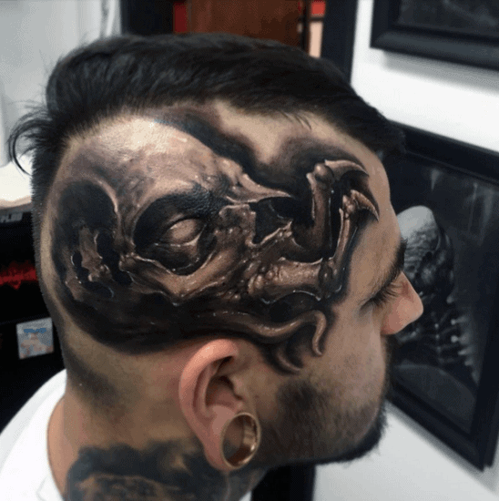 Mens Monster Skull Head Tattoo