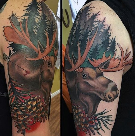 Mens Moose With Arrow Nature Forest Upper Arm Tattoo Ideas
