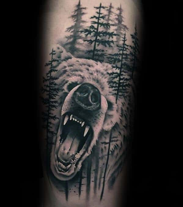 Mens Morph Bear Forest Forearm Tattoo Design Ideas
