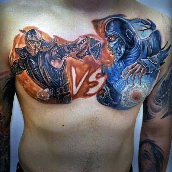 Mens Mortal Kombat Vs Upper Chest Tattoos