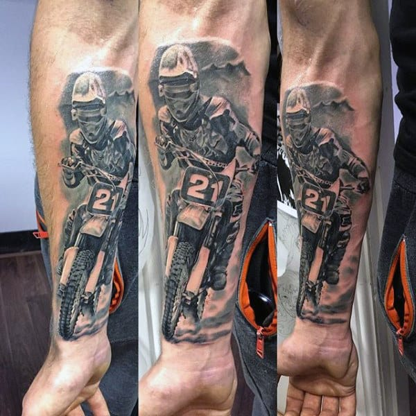Mens Motocross Dirt Bike Tattoos On Forearm