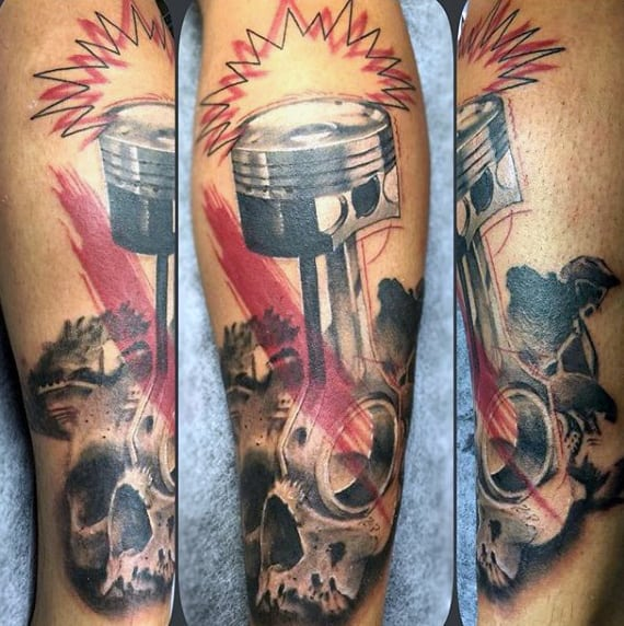 Mens Motocross Tattoos Of Piston And Skull On Arm