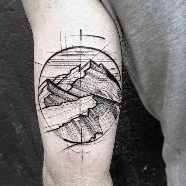 Mens Mountain Landscape Arm Tattoo Sketch Design