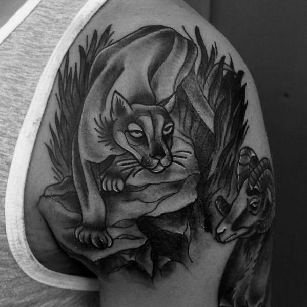 Mens Mountain Lion Tattoo Shaded Black And Grey Ink Shoulder Design Inspiration