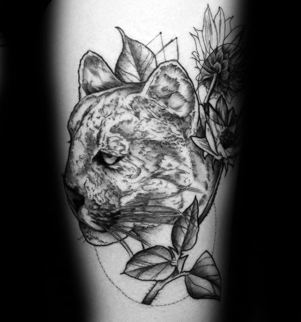 Mens Mountain Lion With Flowers Arm Tattoo Ideas