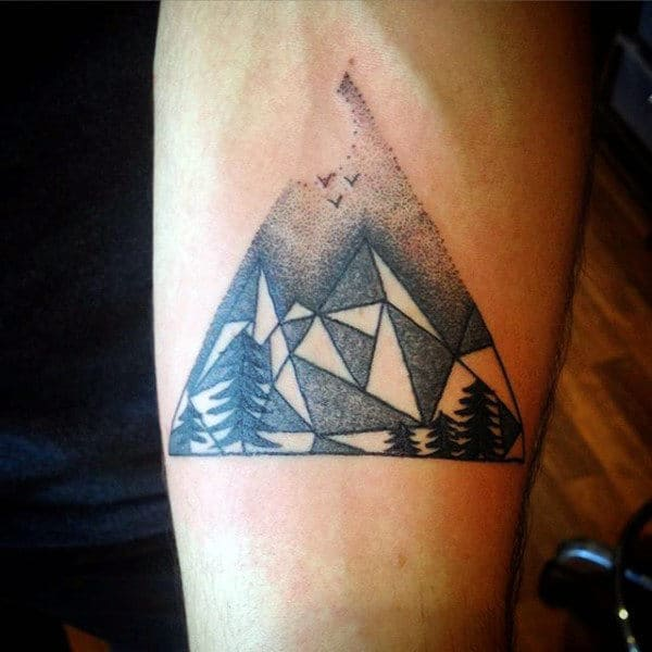 Men's Mountain Scenery Tattoos On Inner Forearm