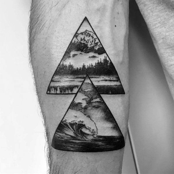 Mens Mountain Wave Tattoo Designs