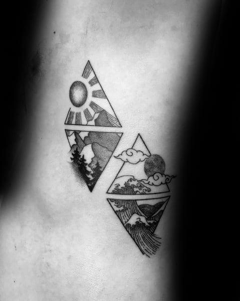 Mens Mountain Wave Tattoo Ideas