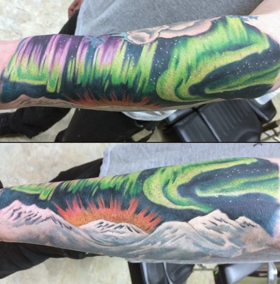 Mens Mountains With Rising Sun Northern Lights Forearm Sleeve Tattoos