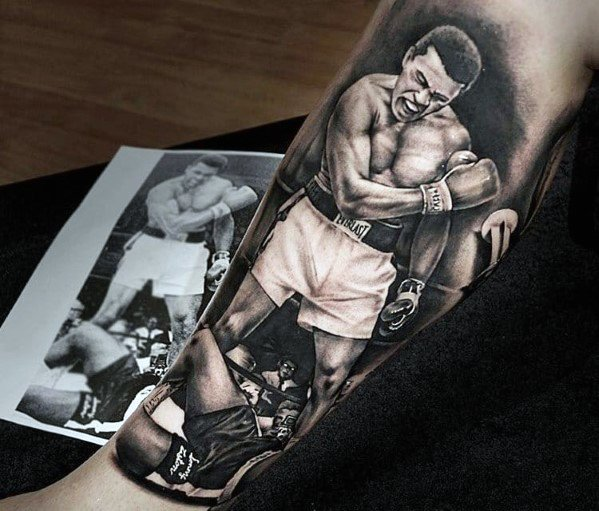 Mens Muhammad Ali Boxer Inner Forearm 3d Tattoo Design Ideas