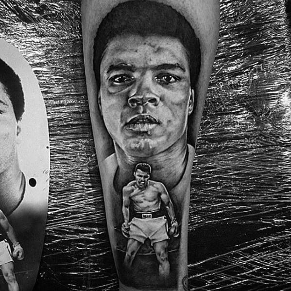 Mens Muhammad Ali Inner Forearm Shaded Tattoo Design Inspiration