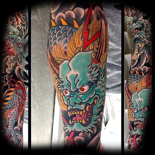 Mens Multicolored Dragon Tattoo Full Sleeves