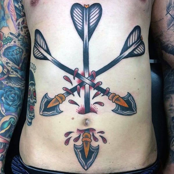 Mens Multiple Arrows Traditional Chest Tattoo Ideas