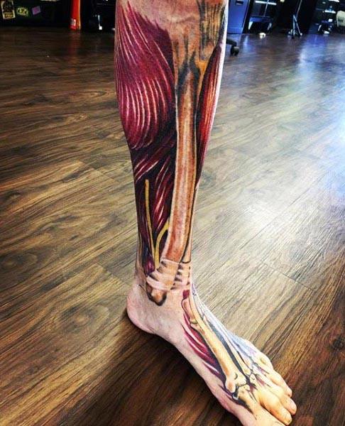 Mens Muscle With Bone Tattoo Leg Sleeve