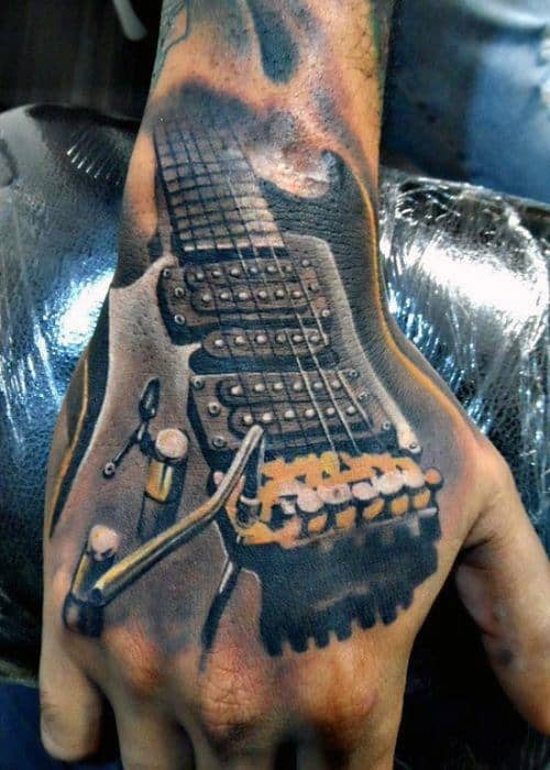 Mens Music 3D Guitar Tattoo Design On Hands
